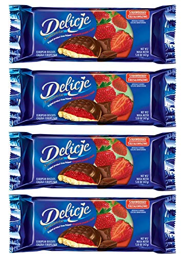 (Delicje European Biscuits Strawberry Filling (Pack of 4))