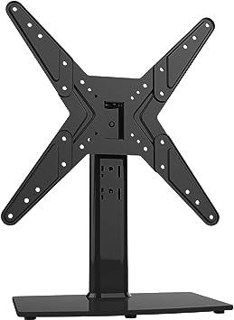 Soporte giratorio universal para TV de 21 a 47 pulgadas con giro de 90 grados, altura de 4 niveles ajustable, base de vidrio templado resistente, soporta hasta 45 kg, HT02B-002P: Amazon.es: Electrónica