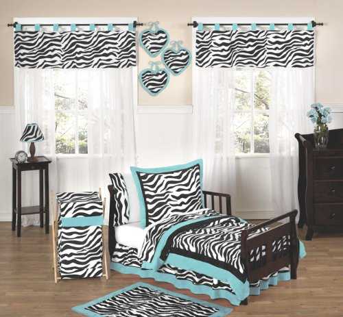 Turquoise Funky Zebra Bed Skirt for Toddler Bedding Sets by Sweet Jojo Designs