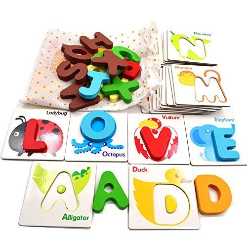 Self-Correcting Wooden Alphabet Letters Matching Picture Puzzle - English Sight Words Visual Learning Cards