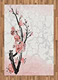 Floral Area Rug by Lunarable, Japanese Cherry Blossom Sakura Tree Branch Soft Pastel Watercolor Print, Flat Woven Accent Rug for Living Room Bedroom Dining Room, 5.2 x 7.5 FT, Coral Pale Pink Grey