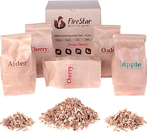 Wood chips for smokers - Oak | Alder | Cherry | Apple smoker chips - Wood chips for smoking and grilling (bbq and grill) - Variety pack 5 pcs + bonus e-book