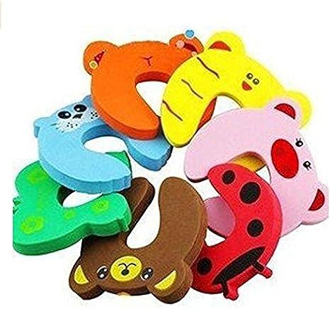 8 unidades Isuper Tope para puerta dise/ño de animales de dibujos animados de goma EVA