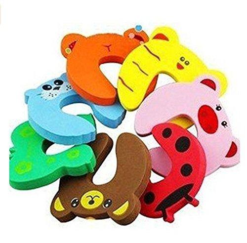 Isuper Tope para puerta, diseño de animales de dibujos animados de goma EVA, 8 unidades
