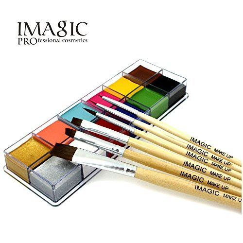 Halloween Professional Makeup (Body Face Paint With Brush 12 Color Pigment Oil Painting Art use in Halloween Party Fancy Dress Beauty Makeup Tool (1))