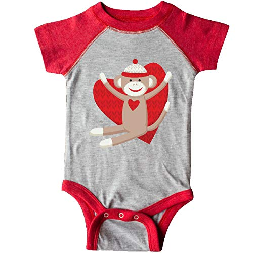 inktastic - Hug Sock Monkey Infant Creeper Newborn Heather and Red d5ca ()
