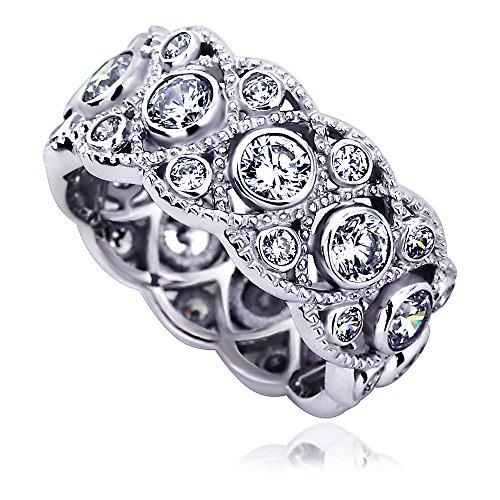 14K White Gold Engagement Ring CZ Round Bezel Set Milgrain Eternity Wedding Band Ring -Size: ()
