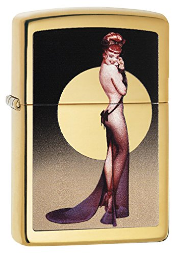 Vintage High Polish Brass Lighter - Zippo Olivia High Polish Brass Pocket Lighter