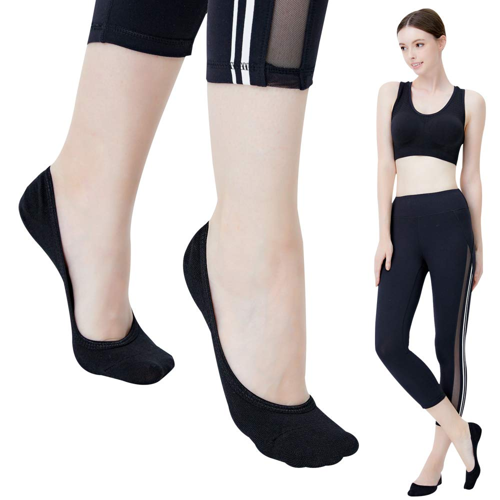 No Show Socks For Women Casual Low Cut Sock Liners With Non Slip Grips Women's Cotton Invisible Socks 1 PACK Black
