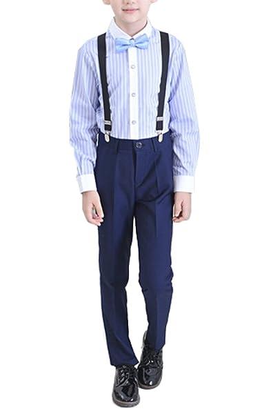 Amazon.com: Boys trajes 4 piezas: Pinstripe/Camisa Blanca ...