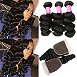 Mink Hair 7A Loose Wave Bundles with Closure (18 20 22+16) Unprocessed Brazilian Weave Hair Human Bundles with 4x4 Closure Free Part Natural Color