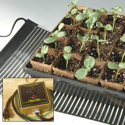 Ken-Bar Agritape Seed Starting High Temperature 11'' x 4' Heat Mat with Grounding Screen and AT-JR Thermostat Controller