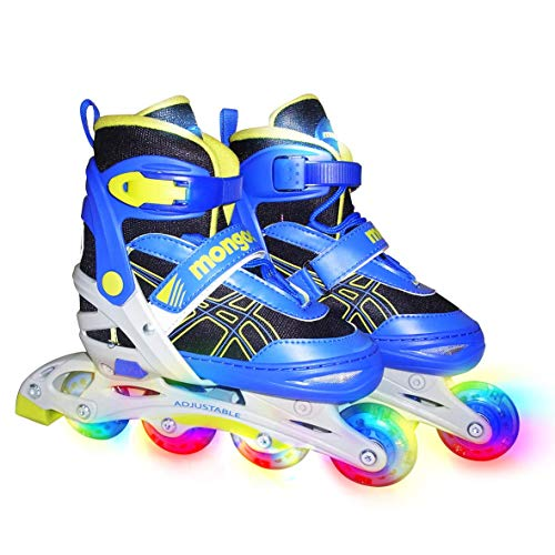 Mongoose Rollerblades for Kids Adjustable with Light Up Wheels Beginner Inline Skates Fun Illuminating for Boys and Girls
