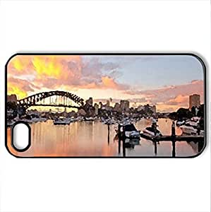 bay_of_fire - Case Cover for iPhone 4 and 4s (Skyscrapers Series, Watercolor style, Black) by icecream design