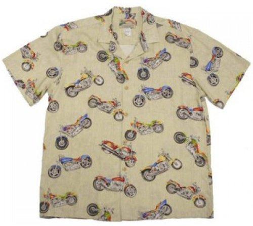 Paradise Found Mens Maui Motorcycle Shirt Bamboo Cream M (Hawaiian Motorcycle Shirt)