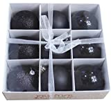 Festive Season Black Shatterproof Christmas Balls Ornaments, Tree Decorations (Set of 9, 80mm)