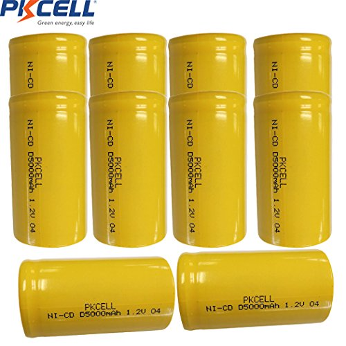 D Size 1.2V 5000mAh NI-CD Flat Top Rechargeable Battery 10Pcs