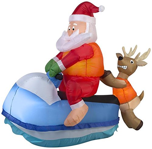 Airblown Santa on Jet Ski Scene Christmas Inflatable by Gemmy