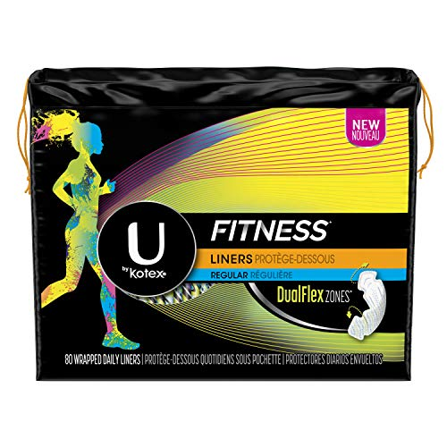 U by Kotex Fitness Pantiliners, Light Absorbency Liners, Regular, Fragrance-Free, 80 Count (Pack of - Tween Panty Kotex Liner