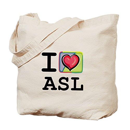 Cafepress–i Love ASL 1–Borsa di tela naturale, tessuto in iuta