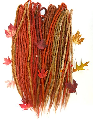 Double Leaf Extensions - Iconic Locks Full Kit of Autumn Leaf Mix Custom Dreadlock Extensions. Synthetic Dreadlocks Made to Order in Your Length Choices. Handmade in USA