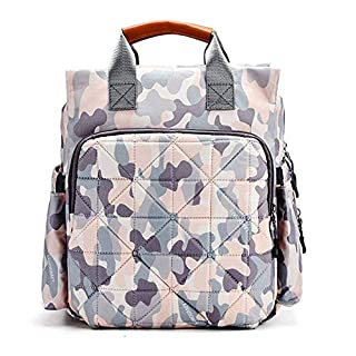 Dr.Becky Camo Diaper bag backpack large capacity multi-function shoulder baby waterproof backpack (camo pink)