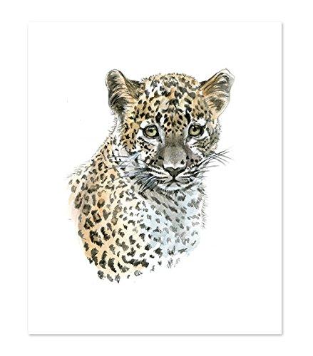 A8 Leopard Poster Print - Cute Baby Animal Watercolor Painting Portrait Face - Wall Art Decor Picture Artwork - Wild Safari Jungle (8x10)