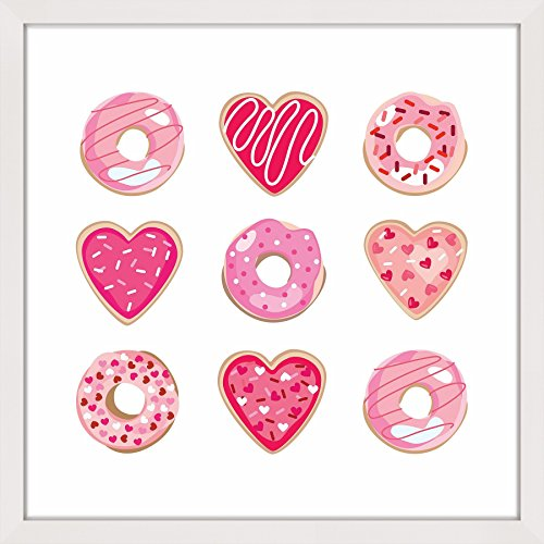 (Marmont Hill Valentine Cookies by Shayna Pitch Framed Painting Print 40x40 Multicolor )