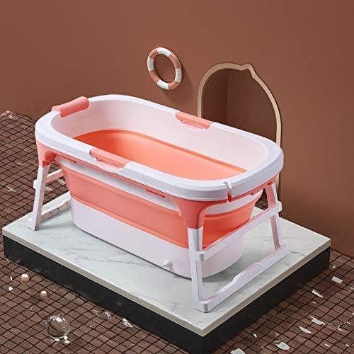 折り畳み式のバスタブ大人、大人/子供のためのプラスチック製のベビースイミングプール子供バースバレル家庭用ポータブル浴槽ノンスリップ断熱,ピンク,A/with bath cover