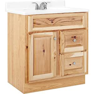 Rsi home products sales cbhnhk30d hamilton natural hickory finish vanity 30 by 21 for Bathroom vanities hamilton
