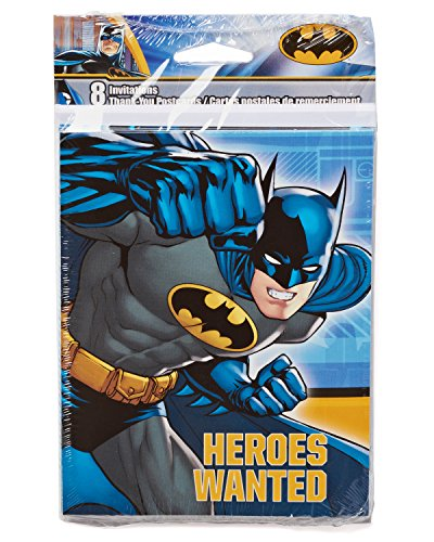 American Greetings Batman Party Supplies, Invite and Thank You Combo Pack, 8-Count