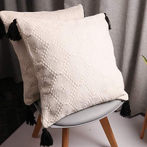 HiiARug Woven Decorative Throw Pillow Covers for Couch, Sofa, Nook, Chair or Bed 2-Pack 16 x 16 Inch Modern Quality Design 100% Cotton Woven with Tassel