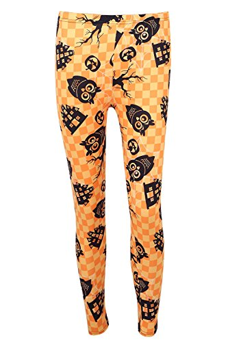 DREAGAL Spooky Pumpkin Spider Web Owl Leggings For Women Medium