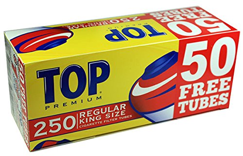 Top Regular Full Flavor Red RYO Cigarette Tubes - King Size - 250ct Box (40 Boxes) by TOP