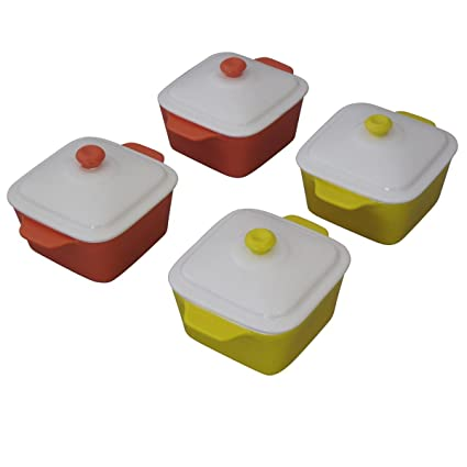 Juego de 4 Mini cuadrado Pastel bandeja para horno con tapa olla de cocina regalo Bake
