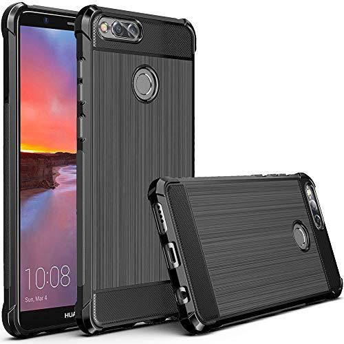 MEGIVEZ TPU Case Compatible for Huawei Honor 7X/Huawei Mate SE Case, Brushed Finish [Shock-Absorption] [Anti Slip] Soft Rubber Cover Bumper Compatible for Huawei Honor 7X Case (Black)