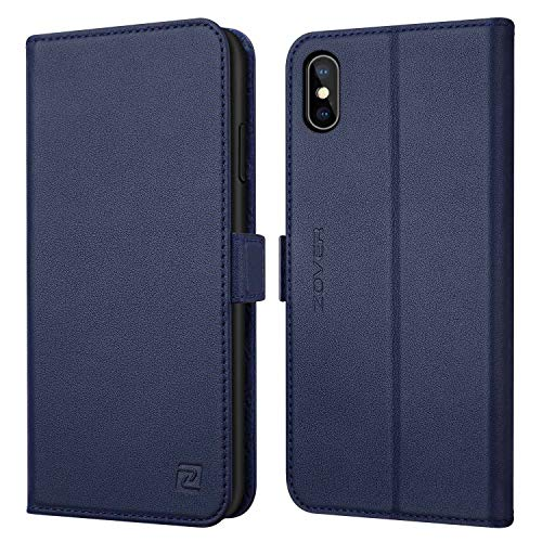 ZOVER Leather Wallet Case Compatible with iPhone Xs Max with Auto Sleep/Wake Kickstand Feature Genuine Leather Card Slots Magnetic Clasps Gift Box Navy Blue