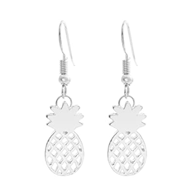 e7f9721db Sterling Silver Plated &18K Gold Plated Smooth Hollow Pineapple Charm  Dangle Earring (White)