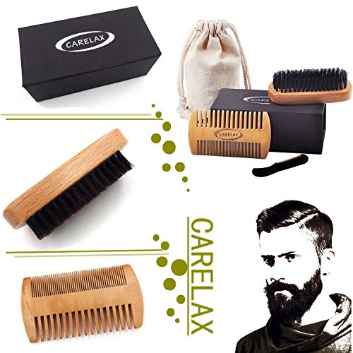 Price comparison product image CARELAX Beard Comb and Beard Brush Set for Men - Handmade Mustache Comb and Boar Bristle Hair Brush for Facial Hair Care - Gift Box & Cotton Pouch- Energetic Softness to Your Beard