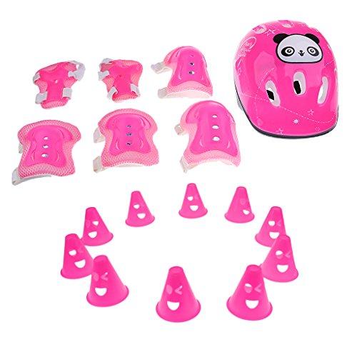 MonkeyJack-7-Pieces-Kids-Girl-Roller-Skating-Skateboard-Bicycle-Helmet-Knee-Elbow-Pad-Wrist-Guard-Protective-Gears-With-Sport-Cones-Pile-Cup-Pink