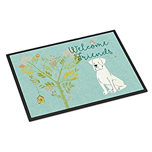Caroline's Treasures BB7607MAT Welcome Friends White Patched Bull Terrier Indoor or Outdoor Mat 18x27, 18H X 27W, Multicolor 12
