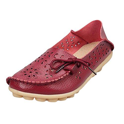 Heheja Mujer Hueco Ocio Piso Zapatos Mocasines de Cuero Loafers con Bowknot Vino Rojo