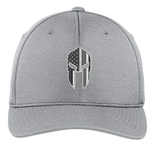 Embroidered Thin Silver Line Spartan Subdued American Flag Corrections Officer Flexfit Flex Fit Baseball Hat (S/M, Light Grey)