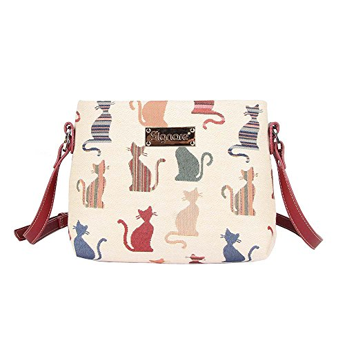 - Cheeky Cat White and Red Ladies Fashion Canvas Tapestry Mini Satchel Cross-body Purse Bag with Adjustable Strap also as Small Shoulder Bag by Signare (XB02-CHEKY)