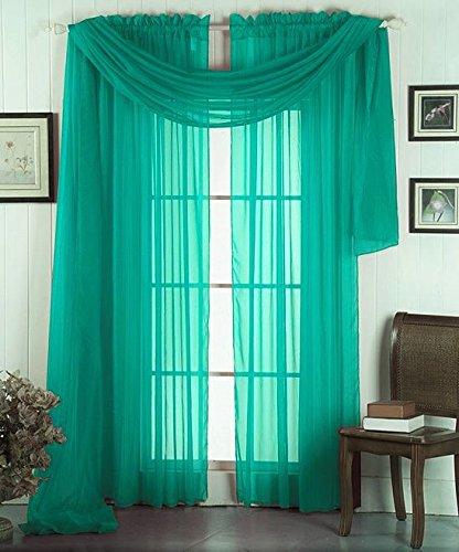 GorgeousHomeLinen 3PC Teal Blue 2 Sheers 84″ length Rod Pocket Window Curtain Panels & 1 Elegant Swag Scarf Valance 216″ length