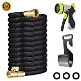 Miracle Garden Hose 75ft - Expandable Garden Hose with Double Latex Core, 3/4 Solid Brass Fittings, Extra Strength Fabric - Flexible Water Hose with Metal 8 Function Nozzle