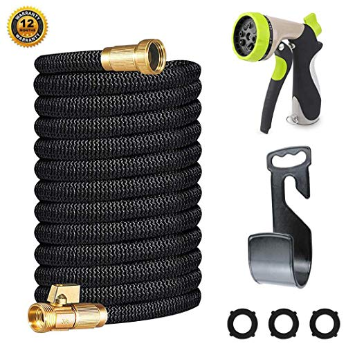 Miracle Garden Hose 75ft – Expandable Garden Hose with Double Latex Core, 3/4 Solid Brass Fittings, Extra Strength Fabric – Flexible Water Hose with Metal 8 Function Nozzle