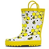 kids bee rain boots - LONECONE Rain Boots with Easy-On Handles in Fun Patterns for Toddlers and Kids, White Bees, Little Kid 2
