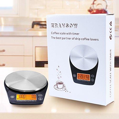 eravsow digital hand drip coffee scale stainless steel
