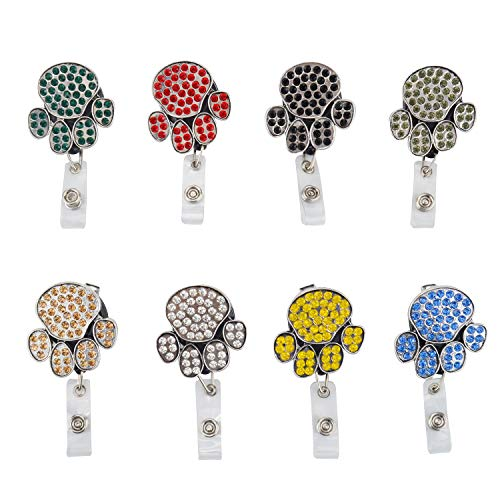 (OVOV 8 Pack Retractable Badge Holder Dog Footprints Shape Cute Bling Badge Reels with Alligator Clip for Name Card Key Chain (8 pcs))